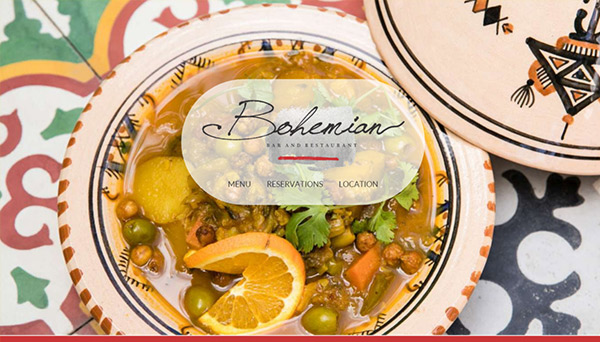 Web design for Bohemian Restaurant