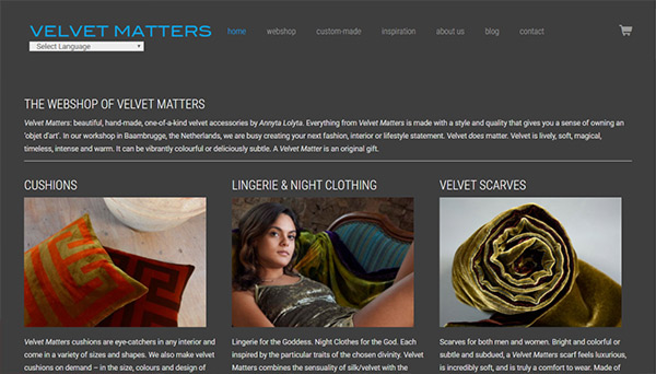 Website design Velvet Matters