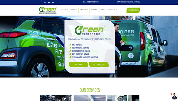 Web design and partial development for Green Restoration Group